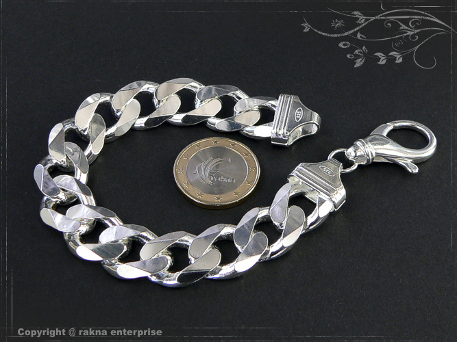 Curb chain bracelets 925 sterling silver width 14mm  massiv