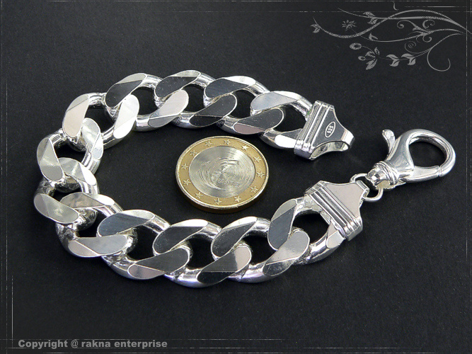Curb chain bracelets 925 sterling silver width 12mm  massiv