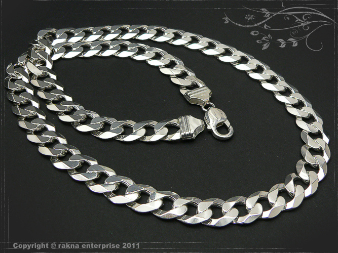 Curb chains 925 sterling silver width 12mm  massiv