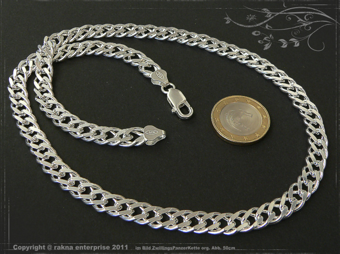 Twin curb chains 925 sterling silver width 8mm  massiv